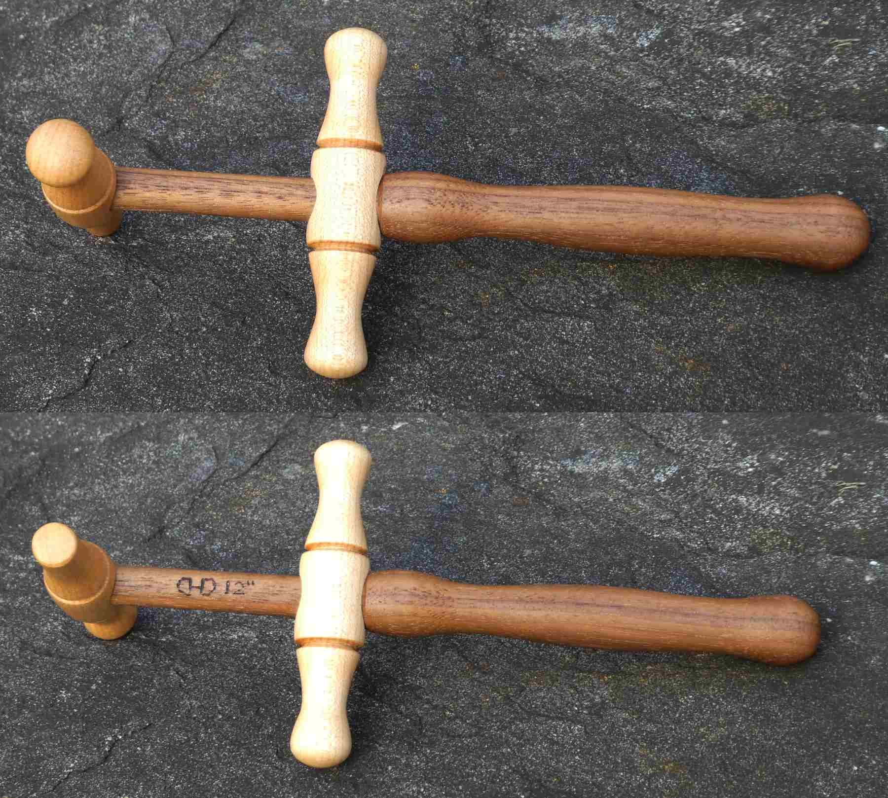 Maple and Walnut niddy-noddy hand turned for winding mini skein of yarn 12 inch long.  Made by Cynthia D. Haney For Sale at Cynthia Wood Spinner.